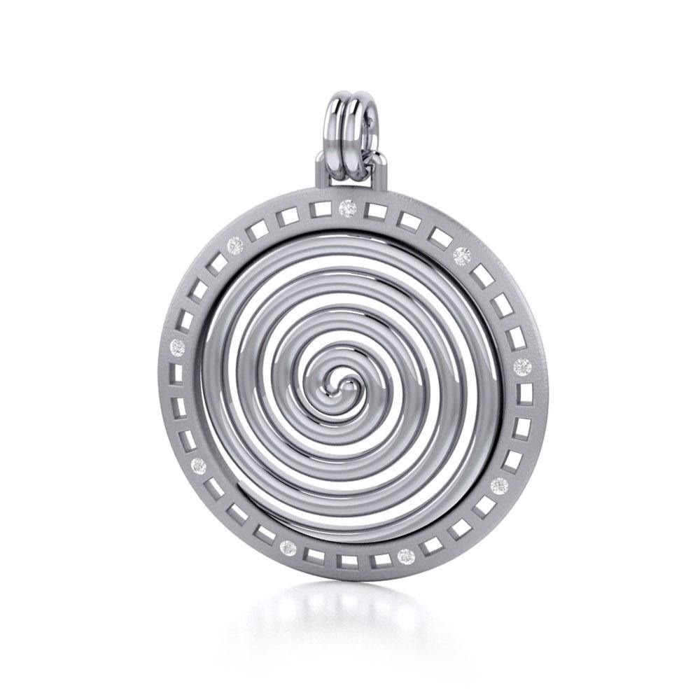 Avalon's Sprial Silver Pendant with Gemstone TPD2679