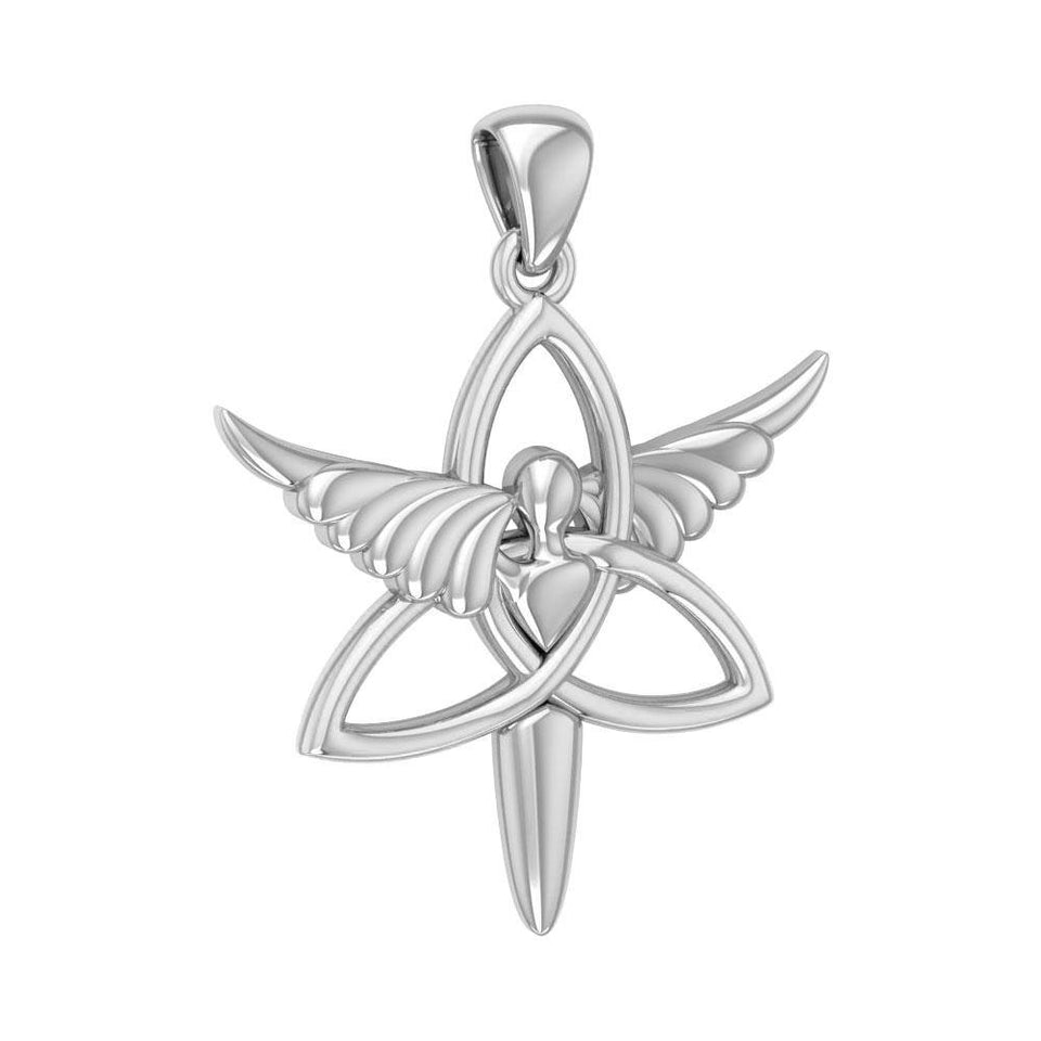 Angel Trinity Knot Sterling Silver Pendant TPD3268 peterstone.