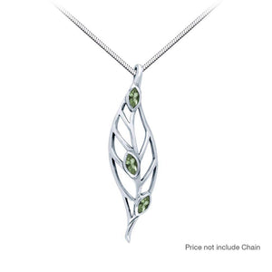 Leaf Silver Pendant with Moldavite Gemstones TPD3339-MD peterstone.