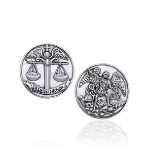 Saint Michael Archangel Sterling Silver Coin TPD3395 peterstone.