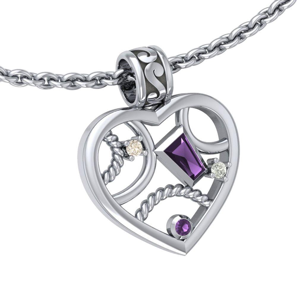 Contemporary Design Silver Pendant with Gemstones