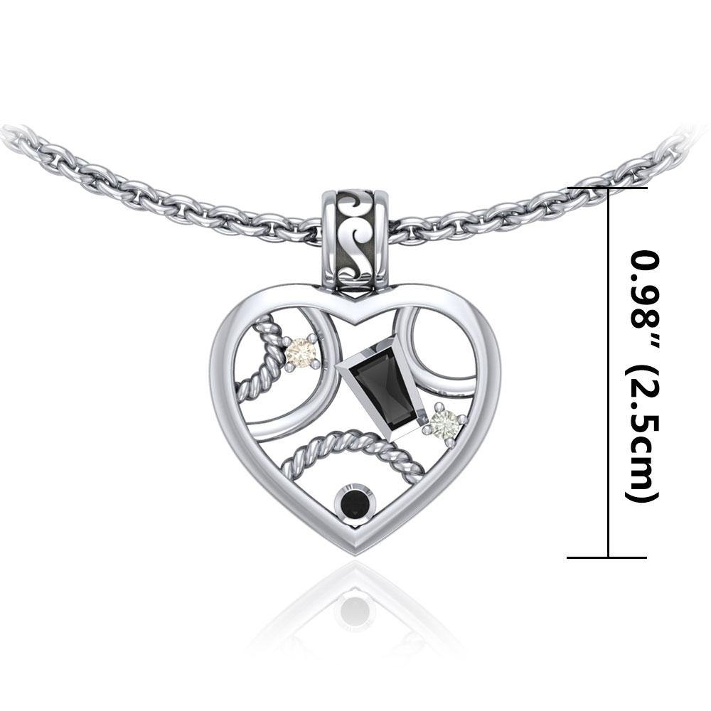 Contemporary Design Silver Pendant with Gemstones TPD3506