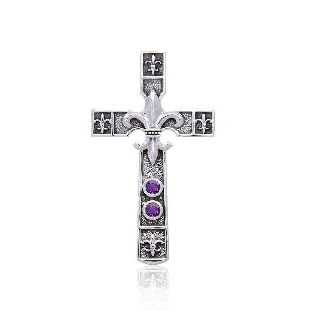 Cross with Fleur De Lis Silver Pendant TPD356