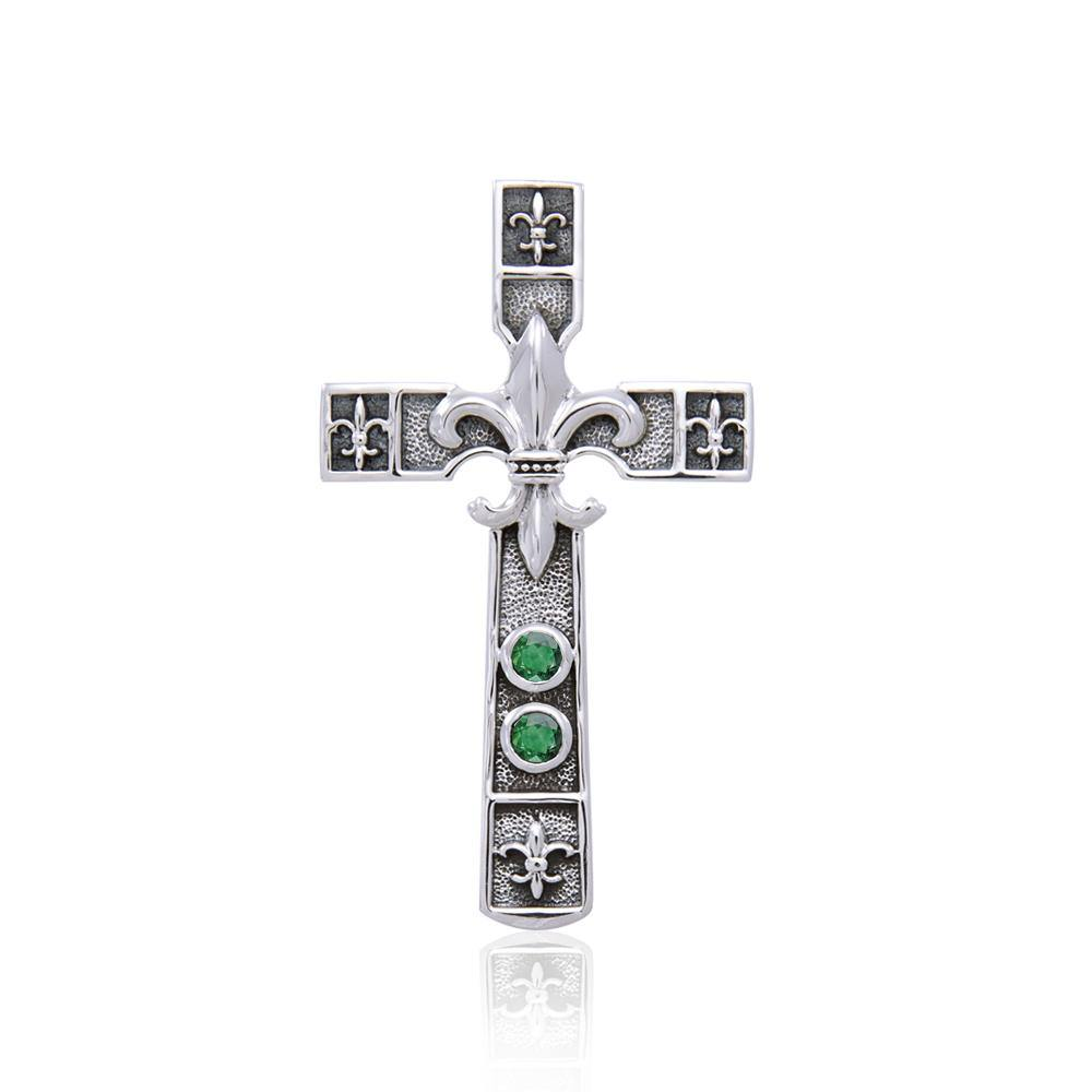 Enlightened by the symbolism of Fleur-de-Lis in the sacred cross ~ Sterling Silver Jewelry Pendant TPD356