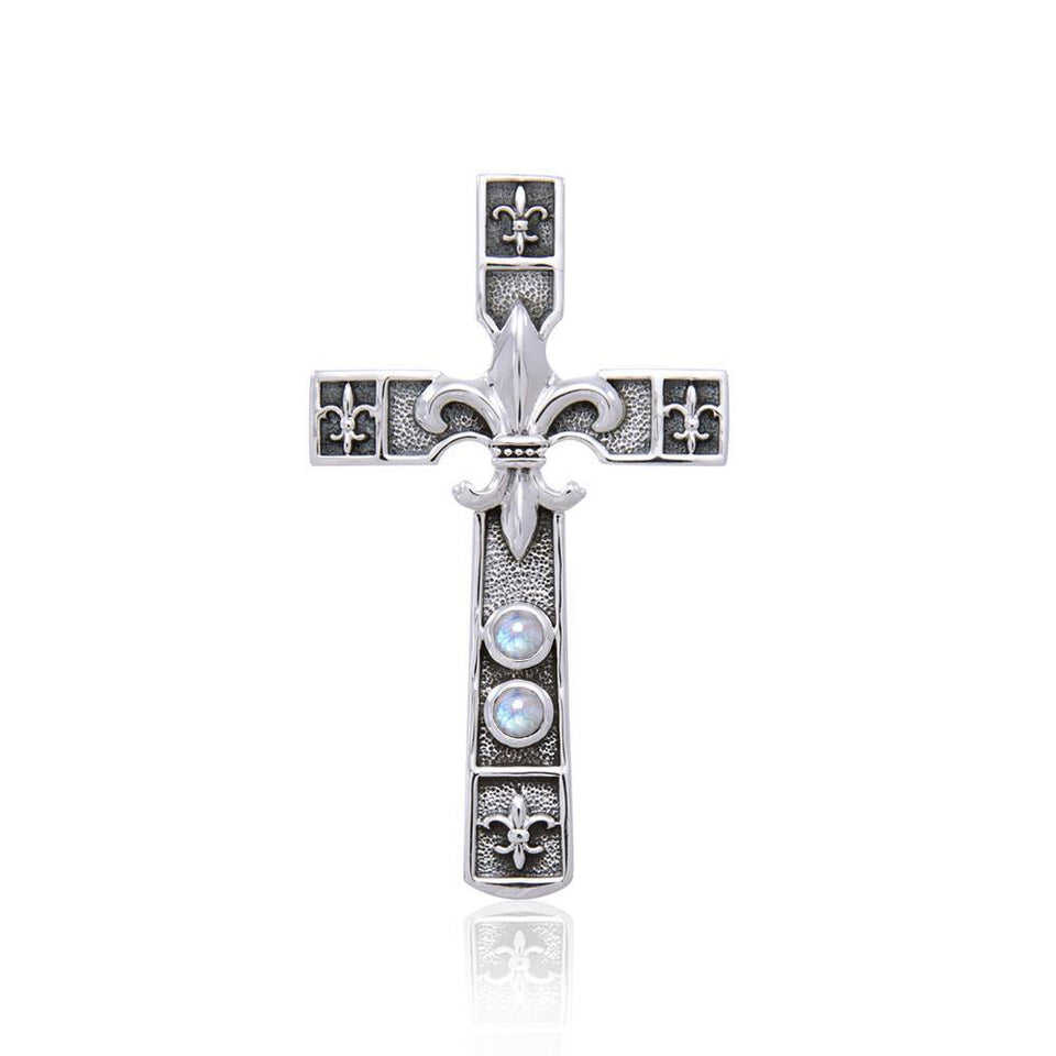 Enlightened by the symbolism of Fleur-de-Lis in the sacred cross ~ Sterling Silver Jewelry Pendant TPD356 peterstone.