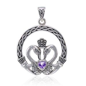 Celtic Swan Claddagh Pendant TPD3608 peterstone.