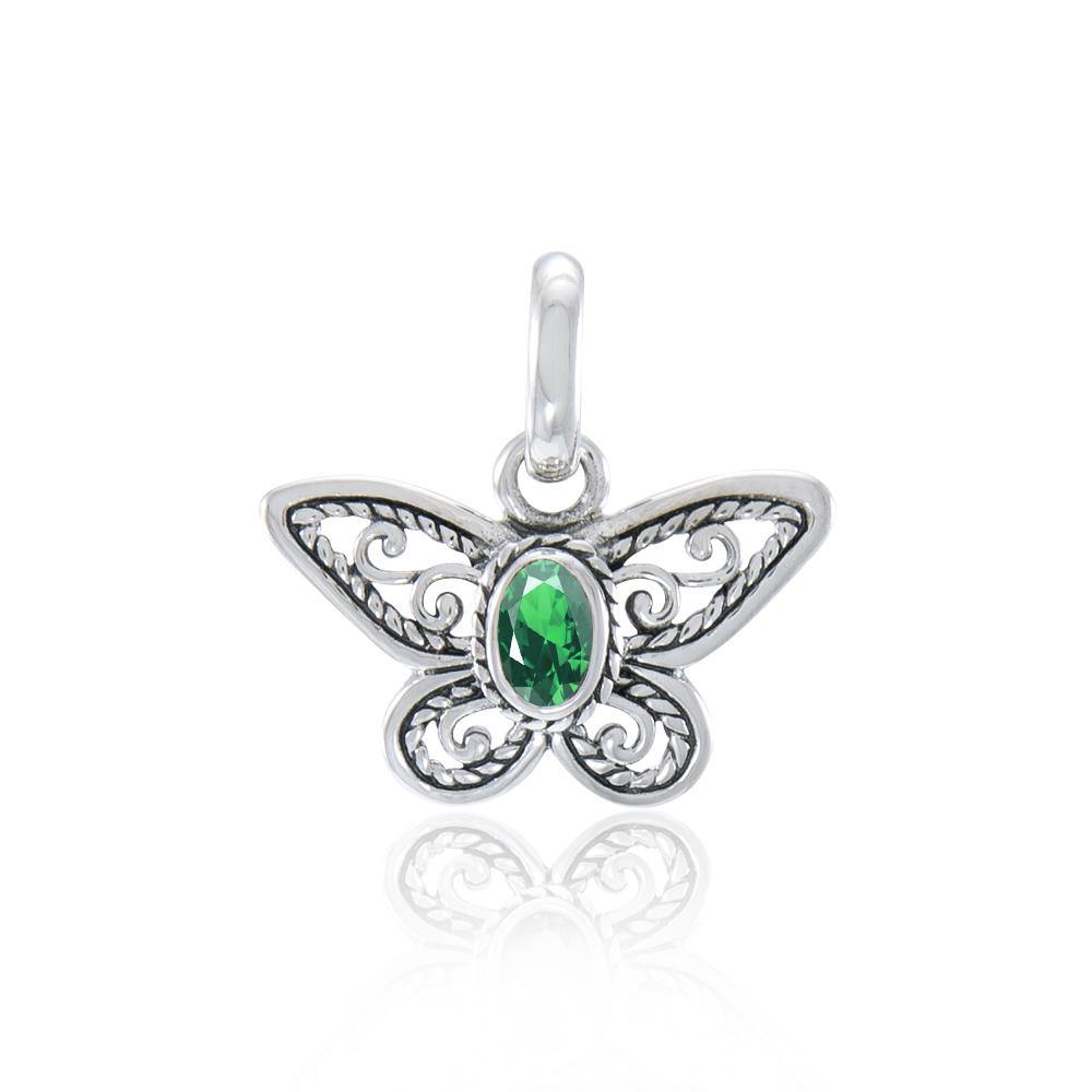 Lifeโ€™s colorful transformation ~ Sterling Silver Jewelry Butterfly Pendant with Gemstone TPD3685