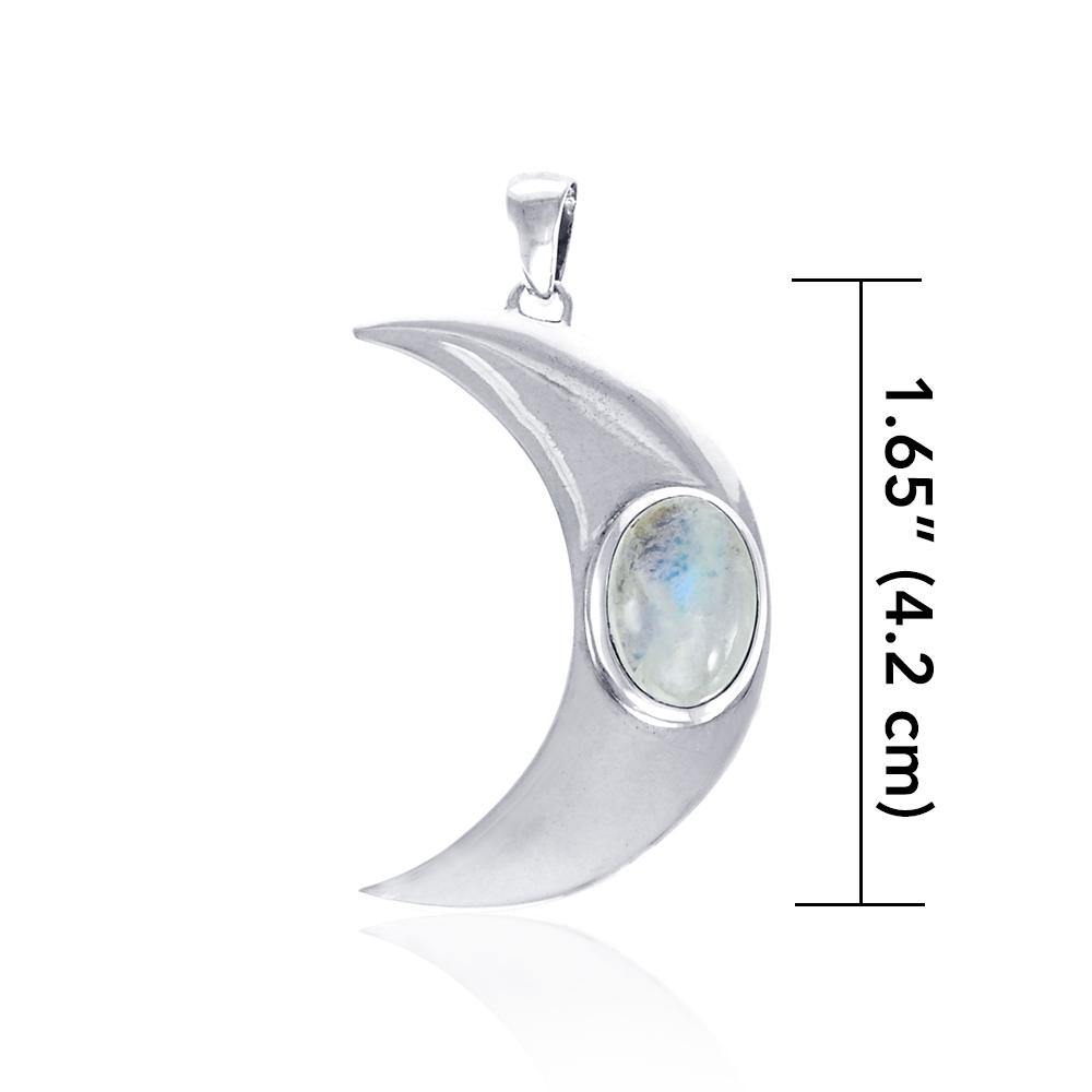 Glow in the Light of the Beautiful Crescent Moon ~ Sterling Silver Jewelry Pendant with Gemstone