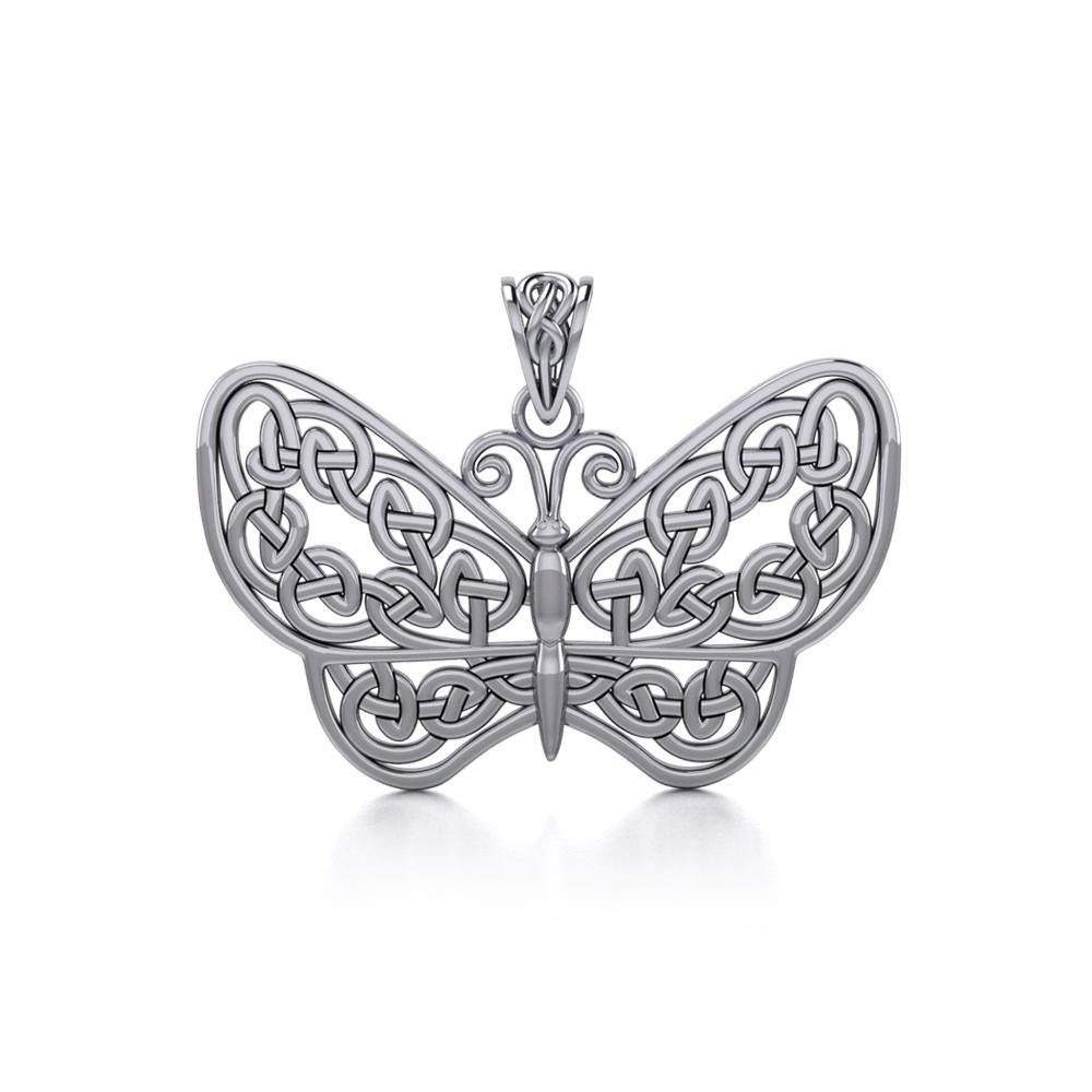 Your wings are ready to fly! ~ Sterling Silver Jewelry Celtic Knotwork Butterfly Pendant TPD4119