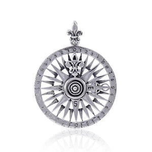Celtic tradition in Fleur-de-Lis Sterling Silver Rose Compass Jewelry Pendant TPD4342 peterstone.