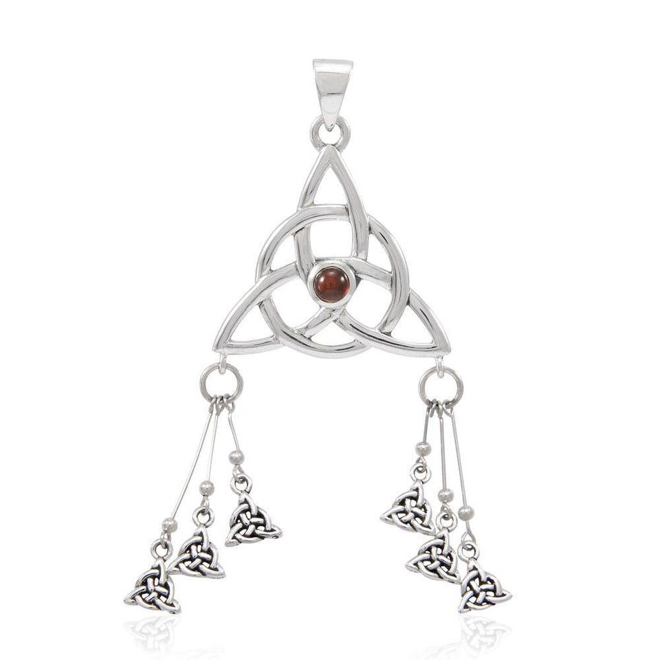 Seven Triquetra Silver Pendant with Gemstone TPD4762 peterstone.