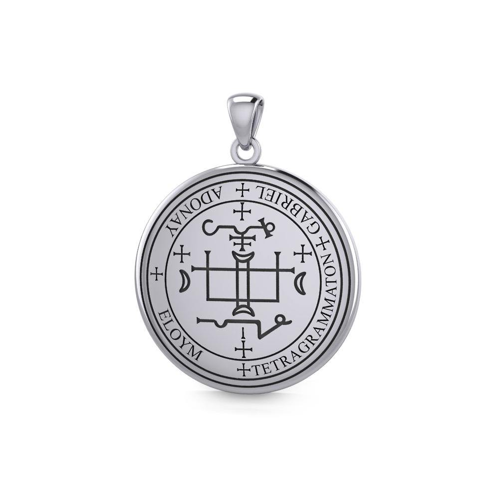 Sigil of the Archangel Gabriel Small Sterling Silver Pendant TPD4783 peterstone.