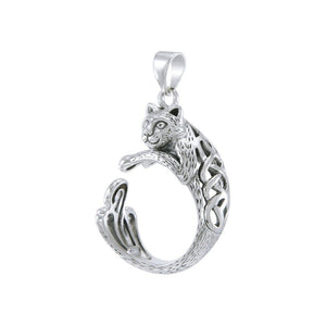 Sterling Silver Celtic Cat Pendant TPD4853 peterstone.
