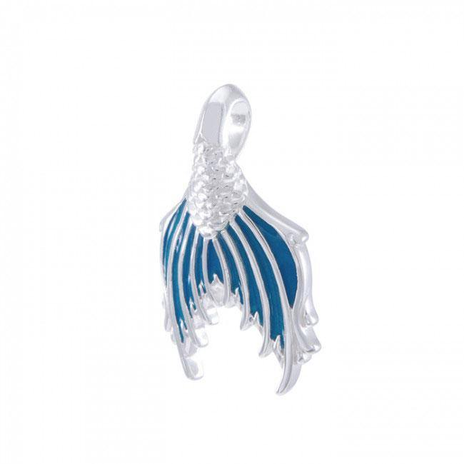Mermaid Tail with Enamel Sterling Silver Pendant TPD4900