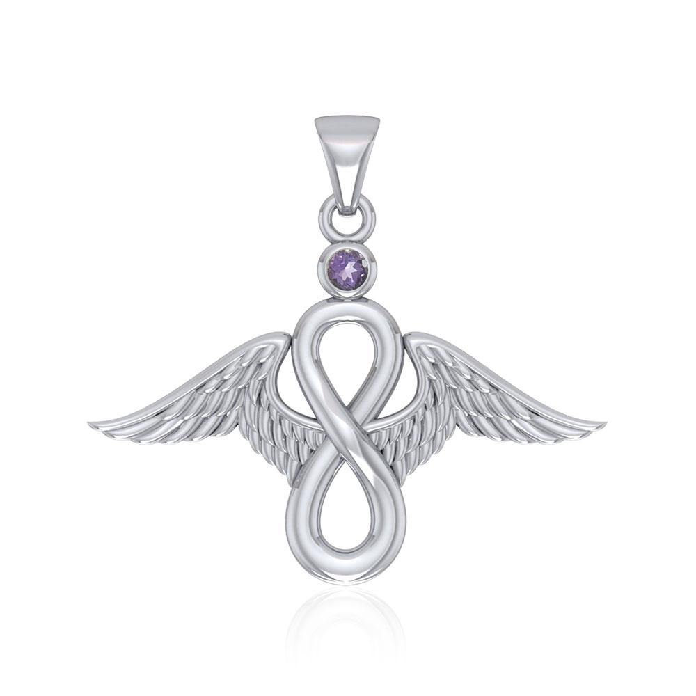 Angel Wings and Infinity Symbol with Gemstone Silver Pendant