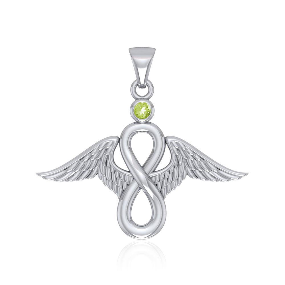 Angel Wings and Infinity Symbol with Gemstone Silver Pendant TPD4949