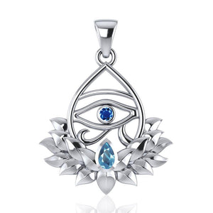 Eye of Horus and Lotus with Gemstone Silver Pendant TPD4959 peterstone.