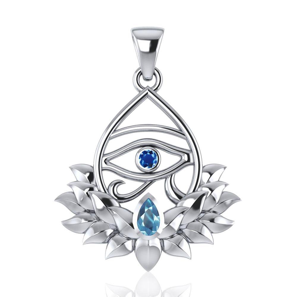 Eye of Horus and Lotus with Gemstone Silver Pendant