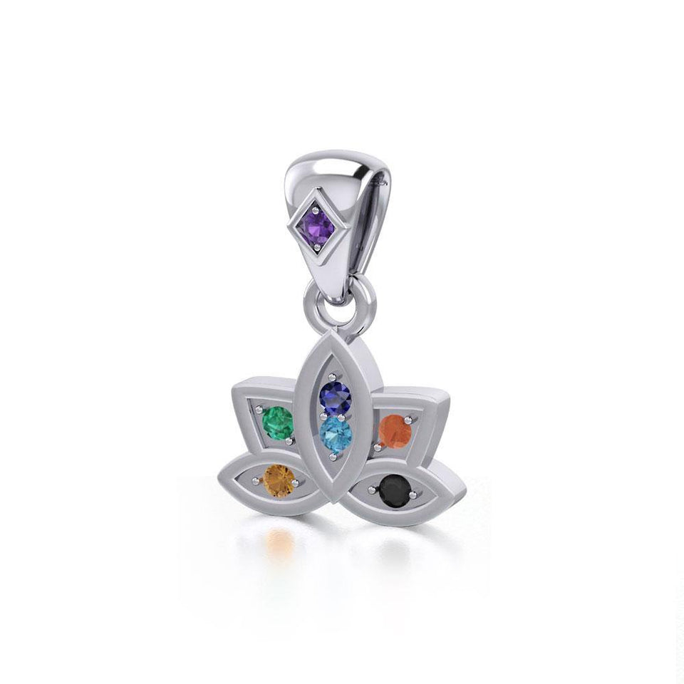 Lotus with Chakra Gemstone Silver Pendant TPD4961 Pendant