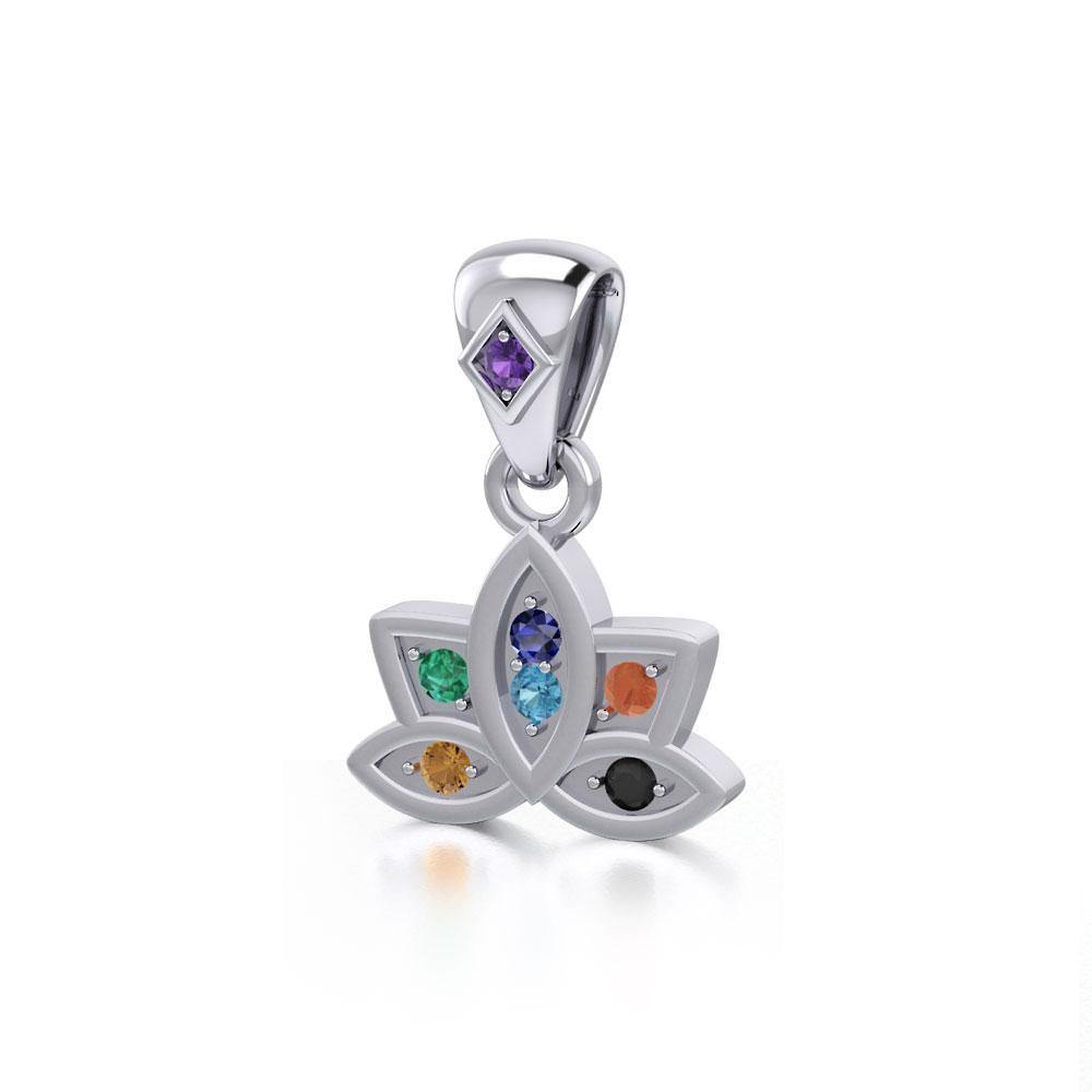 Lotus with Chakra Gemstone Silver Pendant TPD4961 peterstone.