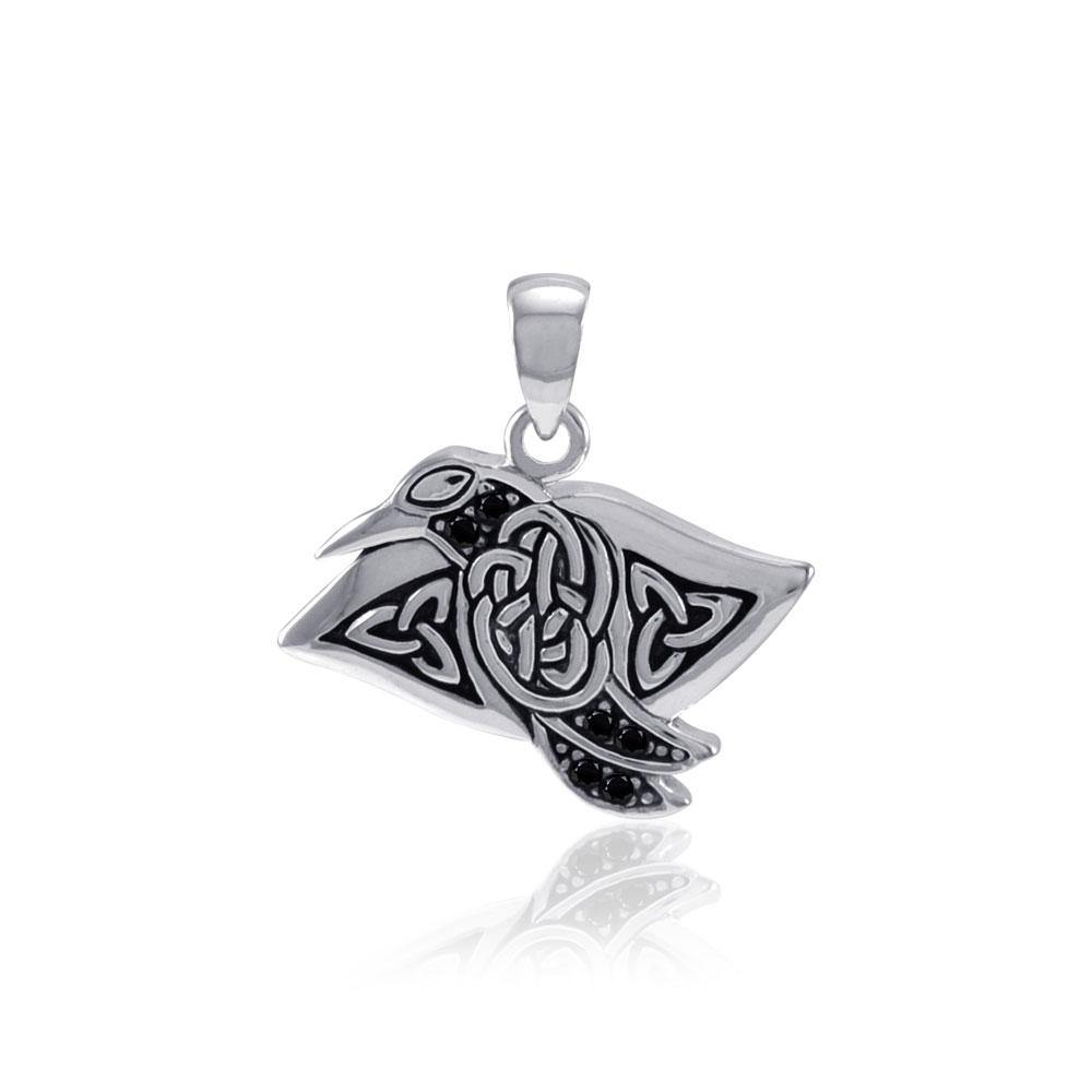 Celtic Raven Sterling Silver Pendant with Gemstone