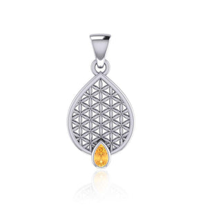 Flower of Life Mandala Silver Pendant with Gemstone TPD5051