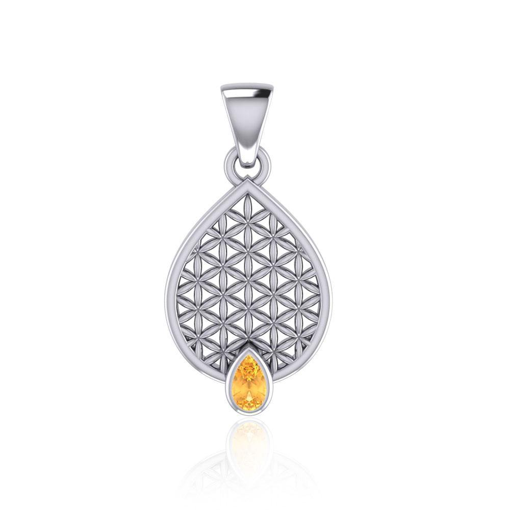 Flower of Life Mandala Silver Pendant with Gemstone TPD5051 Pendant