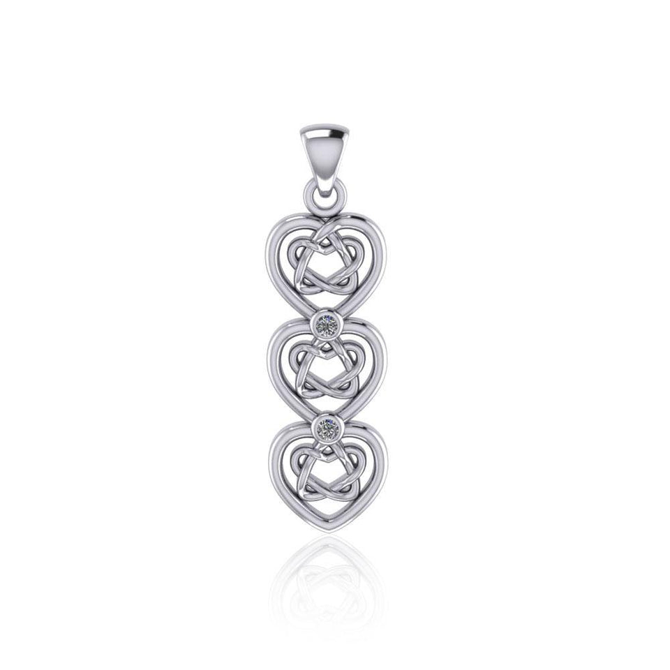 Celtic Knotwork Heart Sterling Silver Pendant with Gemstone TPD5053