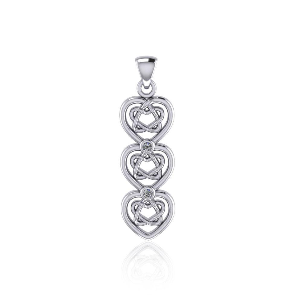 Celtic Knotwork Heart Sterling Silver Pendant with Gemstone