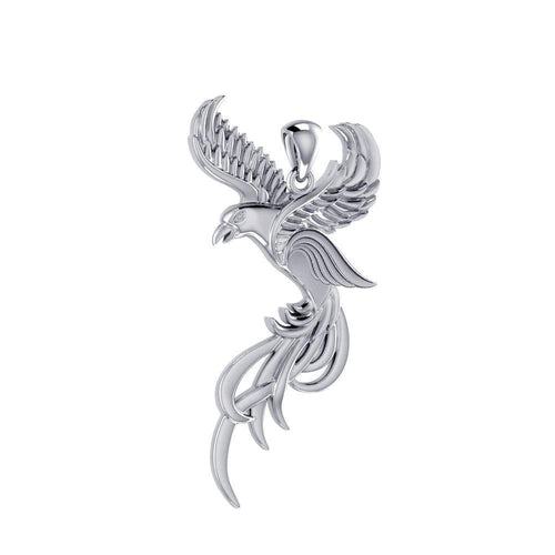 Soar to the Heavens Flying Phoenix Sterling Silver Pendant TPD5072 peterstone.