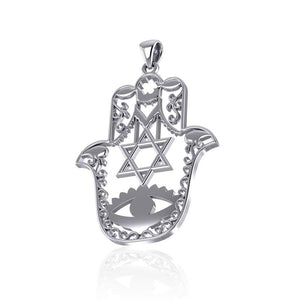Hamsa Star of David Sterling Silver Pendant TPD5077