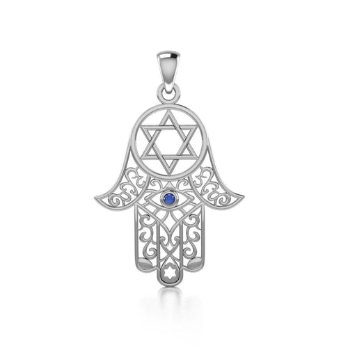 Hamsa and Star of David Silver Pendant with Gemstone TPD5079 peterstone.