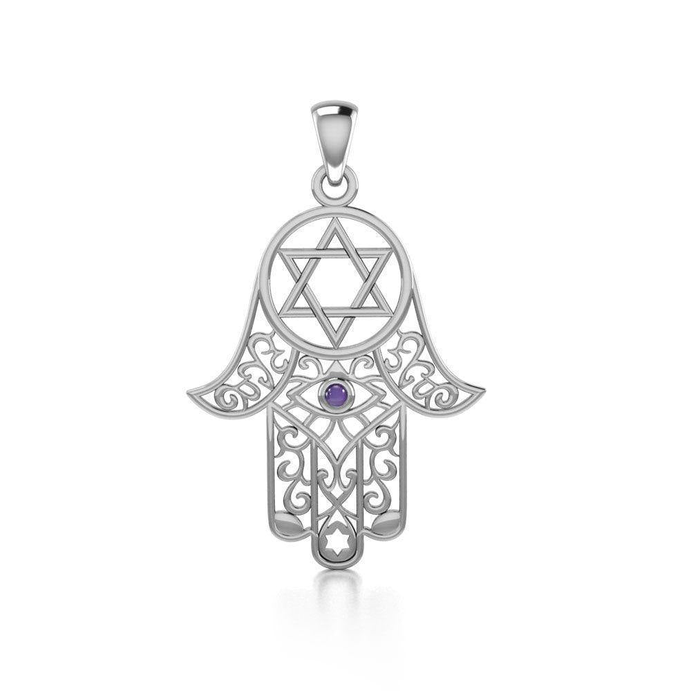 Hamsa and Star of David Silver Pendant with Gemstone TPD5079