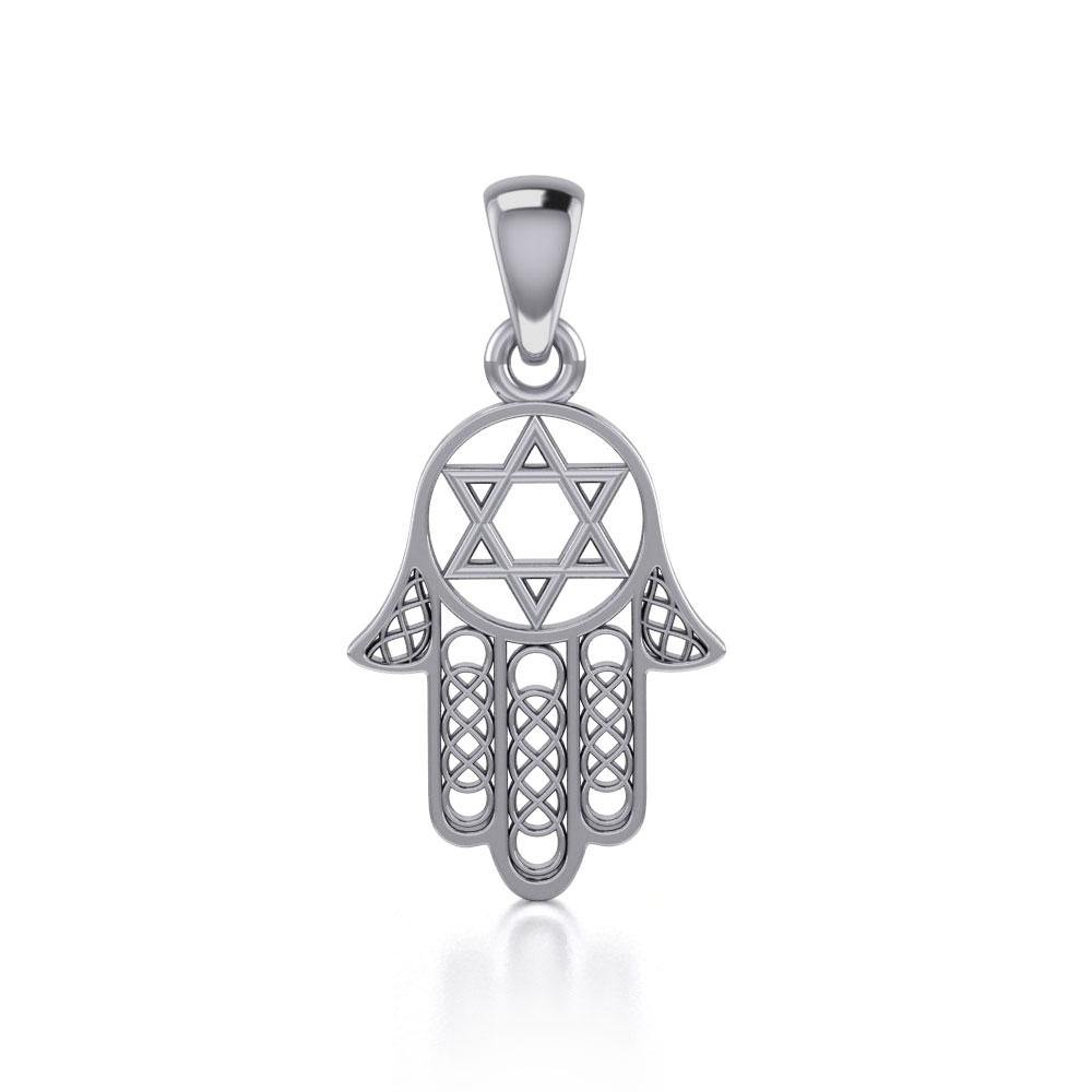 Hamsa Star of David Sterling Silver Pendant TPD5090