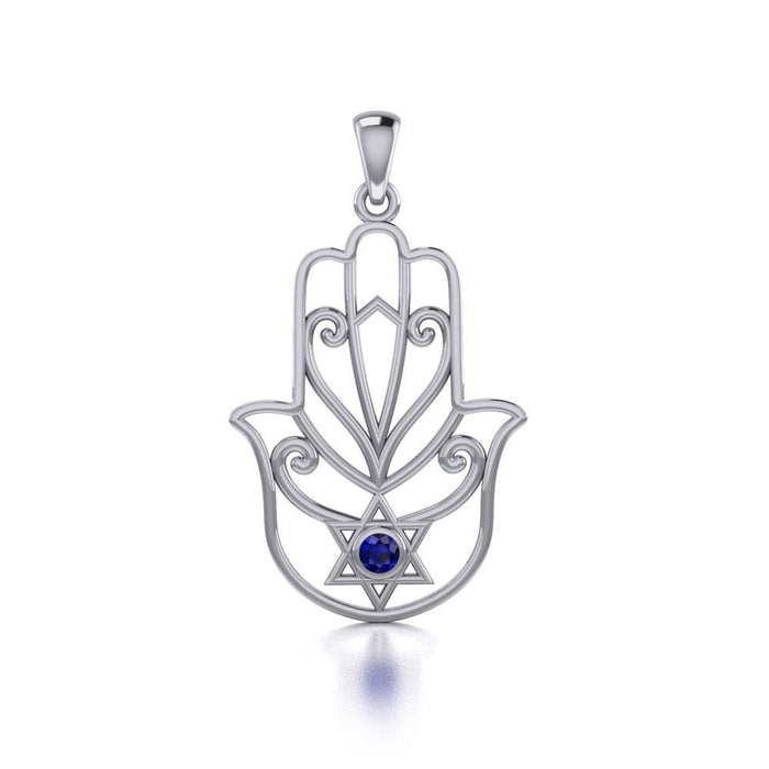 Hamsa Star of David Sterling Silver Pendant with Gemstone TPD5091