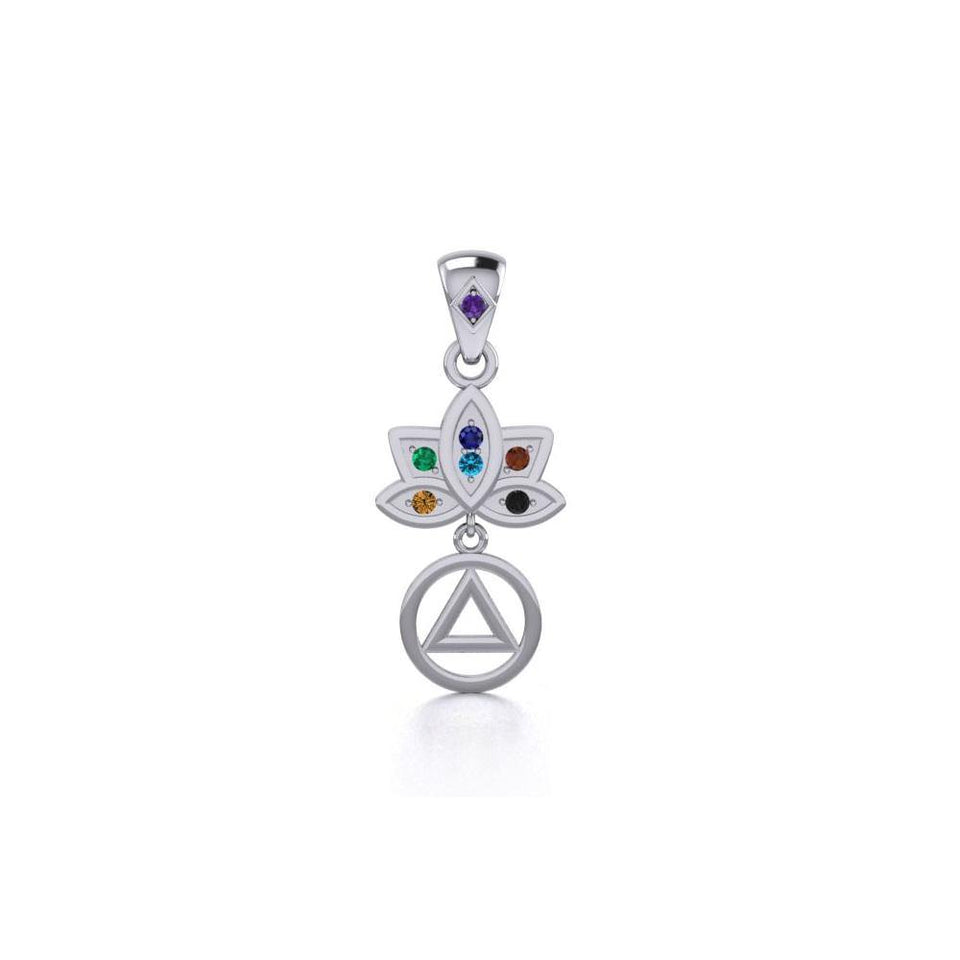 Lotus Recovery Chakra Silver Pendant with Gemstones TPD5094 peterstone.