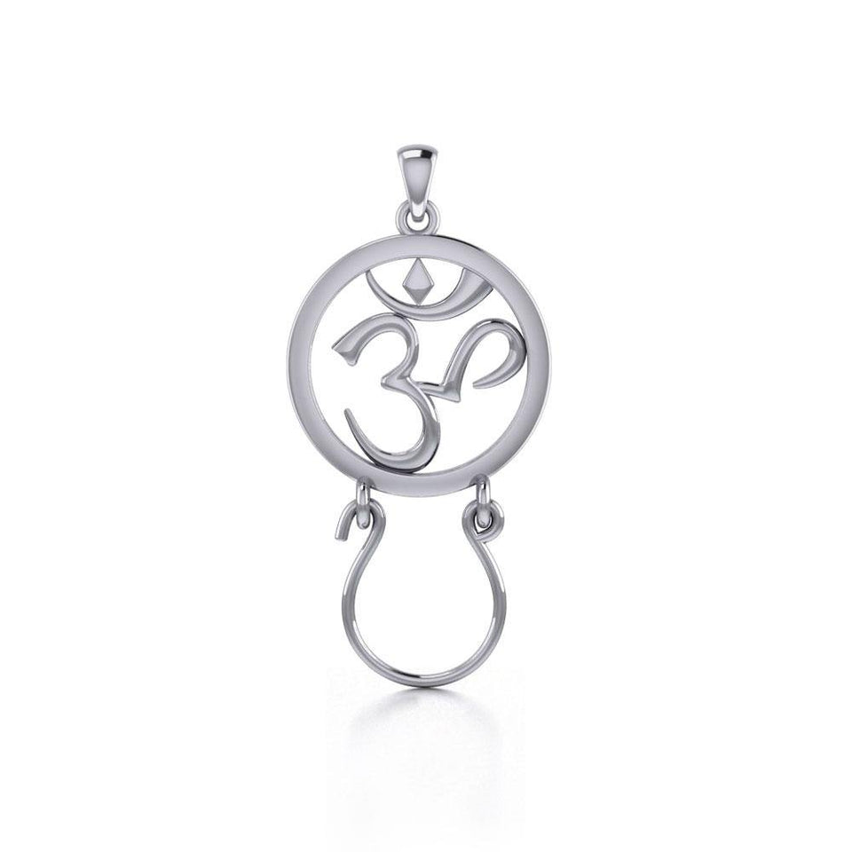 Om Sterling Silver Charm Holder Pendant TPD5095