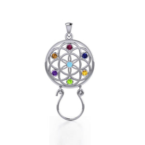 Flower of Life Silver Charm Holder Pendant with Chakra Gemstone TPD5096