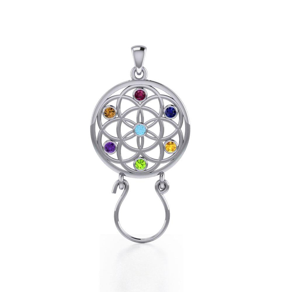 Flower of Life Silver Charm Holder Pendant with Chakra Gemstone