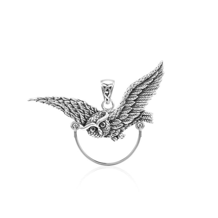 Owl Sterling Silver Charm Holder Pendant TPD5100