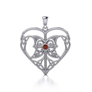 Celtic Triple Goddess Love Peace Sterling Silver Pendant with Gemstone TPD5105