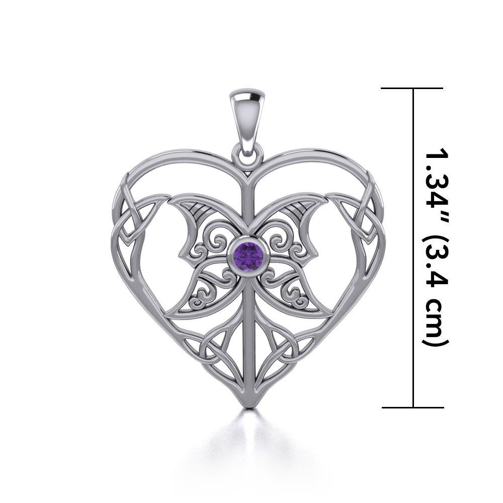 Celtic Triple Goddess Love Peace Sterling Silver Pendant with Gemstone