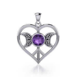 Triple Goddess Love Peace Sterling Silver Pendant with Gemstone TPD5106 peterstone.