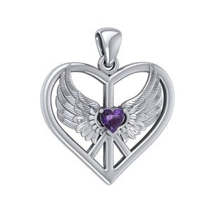 Wrapped in the Wings of an Angel ~ Sterling Silver Peace Symbol Pendant Jewelry TPD5109 peterstone.