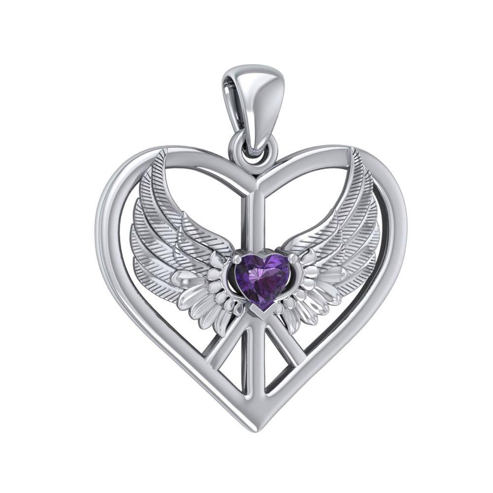 Wrapped in the Wings of an Angel ~ Sterling Silver Peace Symbol Pendant Jewelry