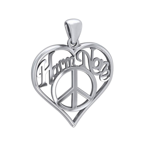 Love Peace Angel Wings Silver Pendant with Gemstone TPD5110 peterstone.