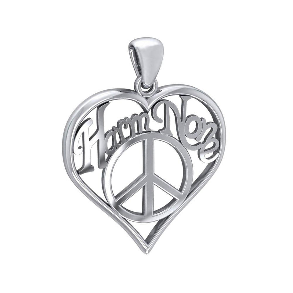 Love Peace Angel Wings Silver Pendant with Gemstone TPD5110