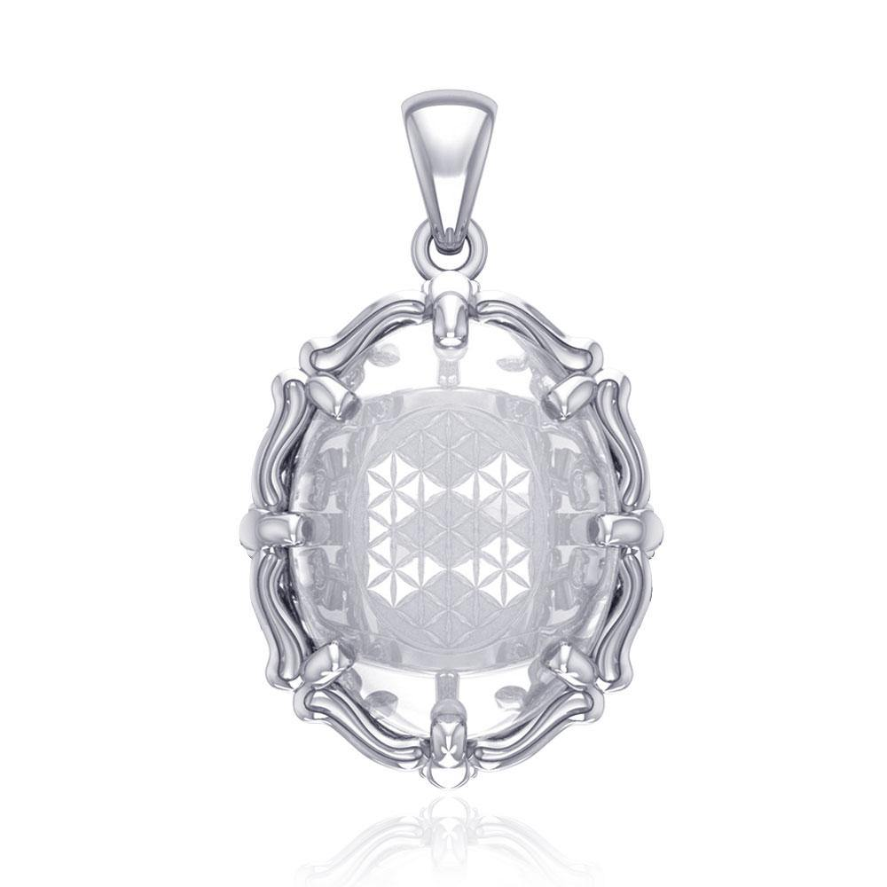 Flower of Life Sterling Silver Pendant with Natural Clear Quartz TPD5116 peterstone.