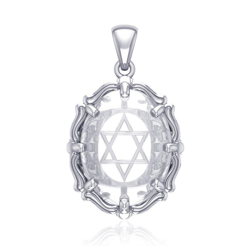 Star of David Sterling Silver Pendant with Natural Clear Quartz TPD5117 peterstone.