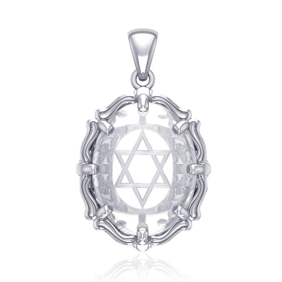 Star of David Sterling Silver Pendant with Natural Clear Quartz TPD5117